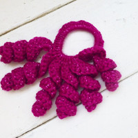 Crochet hair scrunchy, hair accessory, ponytail holder, hot pink colored, sparkly, fashion accessory, hair fashion, ready to ship, handmade