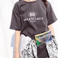 Balenciaga Pattern Simple Women  All-match Fashion  Shirt Top Tee  Round neck T-shirt