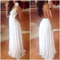 White A-Line Open Back Chiffon Prom Dresses