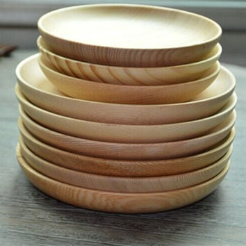 Home Kitchen Bar Wood Tableware Japanese Pure Solid Color Contracted Household Utensils Flat Unlined Upper Garment Wooden Plate