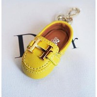 Hermes Newest Popular Cute Mini Cowhide Bag Small Shoes Hanging Drop Car Key Chain Bag Accessories Yellow