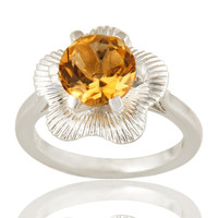 Natural Citrine Gemstone Sterling Silver Ring Designer Fine Jewelry