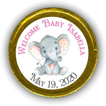 Pink Elephant Baby Shower Chocolate Coins
