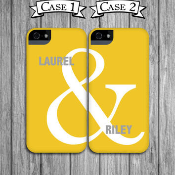 2 Best Friend Phone Cases - Yellow and Gray Ampersand Mix and Match iPhone 4 / 4S, iPhone 5, Galaxy S3 / S4, iPod Touch