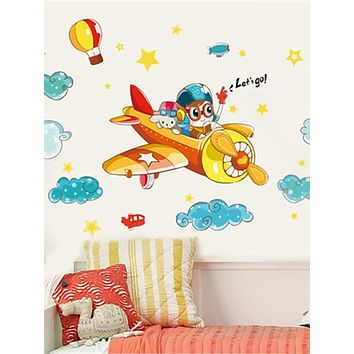 Cute children's room boy bedroom decoration cartoon airplane wall sticker kindergarten classroom wall self-adhesive painting