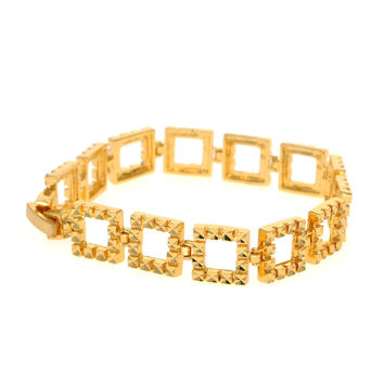 Dear Deer Gold Plated Elegant Square Link Bracelet
