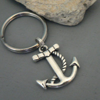 Anchor and Rope Key Chain Best Friend Sailor Navy Gift Nautical Boat Ship Beach key ring Silver Charm KeyChain