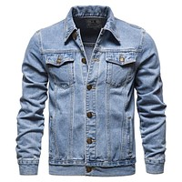 Cotton Denim Jacket Men Casual Solid Color Lapel Single Breasted Jeans Jacket Men Autumn Slim Fit Quality Mens Jackets