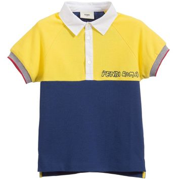 Boys Navy Blue and Yellow Polo Shirt