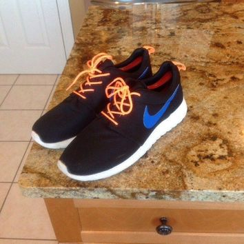 Nike Roshe Run Sneakers 511881-041 Size 11 US Orange Blue Black