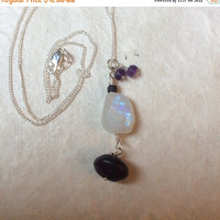 SALE Fiery Moonstone and Amethyst Pendant