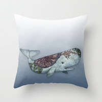 Whale in the Deep - a hand drawn illustration Throw Pillow by Perrin Le Feuvre