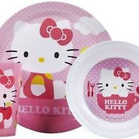 Hello Kitty Cat Mealtime Dinnerware Set Includes Plate Bowl and Cup-New!