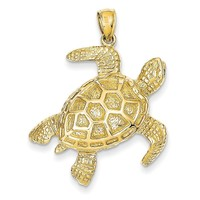 14K 2-D Sea Turtle Pendant D4221
