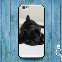 iPhone 4 4s 5 5s 5c 6 6s plus iPod Touch 4th 5th 6th Gen Cover Case Sad Black Puppy Bulldog Dog Pug Pup Cute Funny Animal Baby Cool Rubber