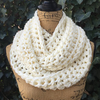 Infinity Scarf Ivory Winter White Large Thick Chunky Crochet Scarf