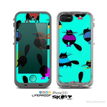 The Teal Cute Fashion Cats Skin for the Apple iPhone 5c LifeProof Case