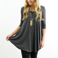 A Done Deal Charcoal V-Neck Tunic Top 3/4 Sleeves