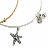 Alex and Ani Starfish Expandable Wire Bangle Rafaelian Silver