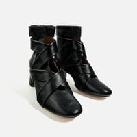 HIGH HEEL LEATHER ANKLE BOOTS WITH STRAPS DETAILS
