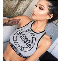PINK Sexy Letter Print Sport Gym Stretch Vest Tank Top Cami