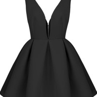 Sheinside Women's Black V Neck Backless Midriff Flare Dress