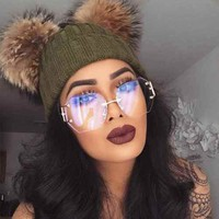 HOT Women Oversized Clear Lens Rimless Sunglasses Gold Metal Frame Vintage Retro