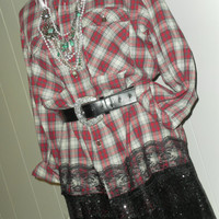 Mystery Flannel Sequin Vtg 90s Grunge Slouchy PLAID Oversized SHIRT Boyfriend Top Mini Dress S-XXL