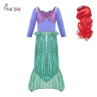 MUABABY Girl Ariel Dress up Clothes Long Sleeve Sequins Little Mermaid Cosplay Costume Kids Halloween Fairy Tales Party Supply