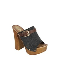 Ladies Fashion Slip On With Buckle And Wooden Covered Heel