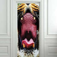 """Wall Door STICKER tiger mouth animal poster, mural, decole, film 30x79"""" (77x200 Cm)"""