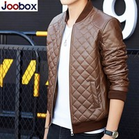 JOOBOX 2018 Fashion jacket men brand clothing male jackets casual men autumn coat wind breaker male bomber Faux Leather jacket