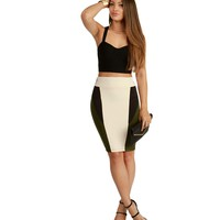 Promo- Taupe Block Out Pencil Skirt