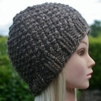 Hand Knit Hat Women's hat- Rustic Mega Chunky with wool- beanie hat- light brown- winter hat- women accessories