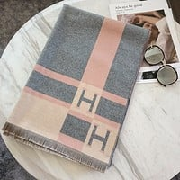 Hermes new style color matching jacquard shawl scarf