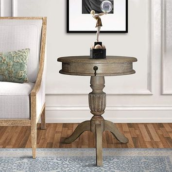 "25"" Round Top 1 Drawer Side Table with Pedestal Base, Brown By The Urban Port"