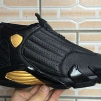 Air Jordan 14 Retro Black/Gold Sneaker Shoe US 7-12