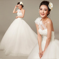 Couture White Tulle One Shoulder Modern Wedding Bridal Ball Gown Dress SKU-118167