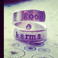 GOOD KARMA  ring handstamped what goes around comes around