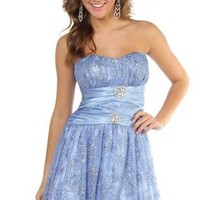 strapless peasant style party dress with fit and flare circle skirt - 1000042420 - debshops.com