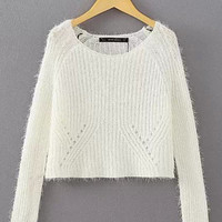 White Soft Crop Knit Sweater Top