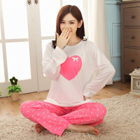 Womens Pajamas Sets Promotion 2015 Casual Long Sleeve O-Neck Lady Cotton Pajamas Women Autumn Sleepwear Lips Pattern Nightwear