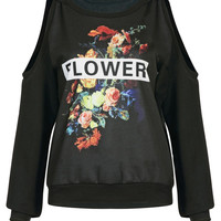 Black Sweatshirt with Floral Print