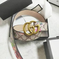 Gucci New Fashion Retro Floral Print Belt Couple More Letter Leather Belt