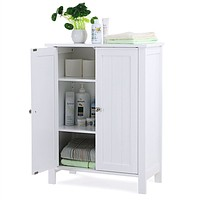 White Bathroom Floor Cabinet with 2 Doors and Adjustable Storage Shelves