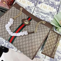GUCCI new product full printed letters tiger head buckle ladies two-piece shopping handbag diagonal bag