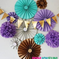 Aqua, lavender, white and Gold Glitter Party Fans | Pom Wheel | Rosettes | Paper Medallions | Paper Pinwheels in Lavender