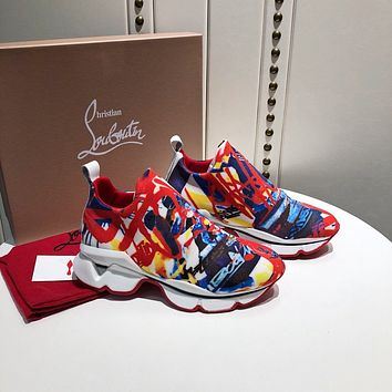 Christian Louboutin CL Fashion Fashionable leisure Sneakers Shoes RED