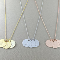 Personalized Initials and Heart Disc Necklace / Handmade, Hand Stamped / Good for Sweethearts, Birthday, Bridesmaid and all Meaningful Gift