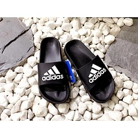 ADIDAS new tide brand men and women models simple fashion beach sandals black